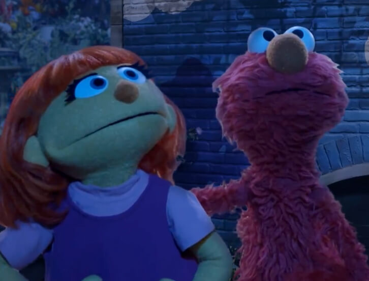 Elmo and Julia looking at the stars