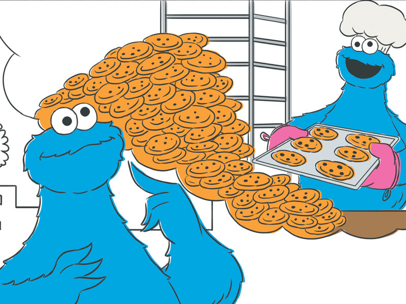 Cookie Monster thinking about baking cookies